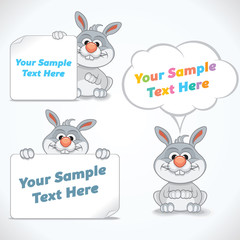 Funny Cartoon Rabbit with Banners