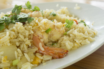 shrimp prawn fried rice cucumber plate
