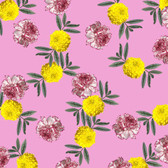 Delicate floral background. Carnations and marigolds