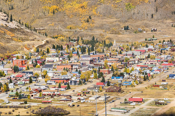 Aerial view of Silverton, Colorado in the fall