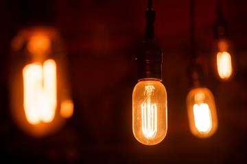 Vintage light bulbs with glower filament. Incandescent, retro design.