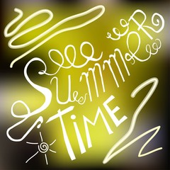 Typography banner Summer Time. White lettering on yellow and brown blurred background, hand drawing, vector