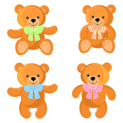 Bear, toy. Colorful collection of teddy bears for girls and boys. It can be used for baby textile, wrapping paper and children's room decoration.