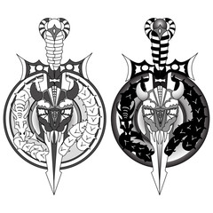 Viking Tattoo, sword, viking skull and dragon