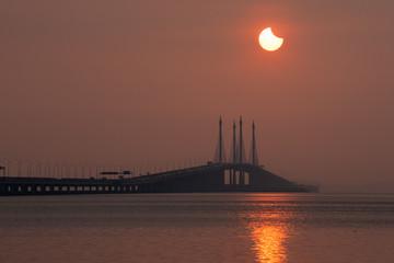 Solar Eclipse in Penang Bridge, Malaysia