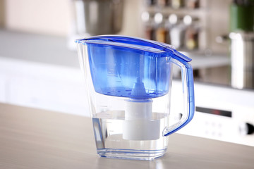 Water filter jug on kitchen table