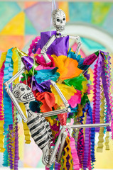 Day of the dead pinata with skeletons (Dia de Muertos)