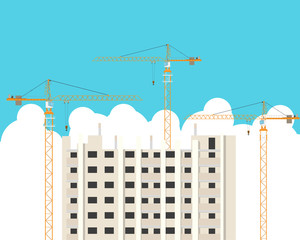Construction of high-rise building with the help of cranes. Vector illustration