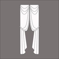 classic curtains. curtains sketch. curtains.