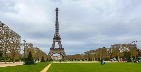Eiffel Tower on Champ de Mars in Paris France