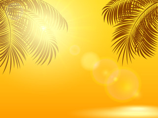 Palm leaves and sun on orange background