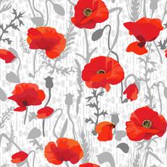 Tuinposter Botanisch Poppy field - seamless pattern. Hand drawn vector floral pattern with poppy theme.