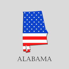 Map State of Alabama in American Flag - vector illustration.