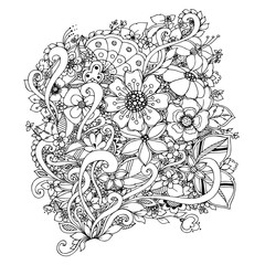 Vector illustration of flowers zentangle, doodle. Adult coloring books.