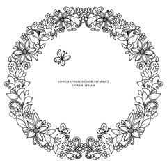 Vector illustration zentangl round floral frame, symmetry. Doodle flowers. Coloring for adult anti-stress. Adult coloring books.