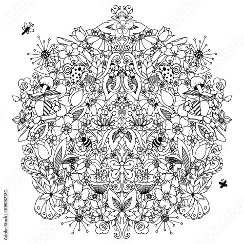 Vector Illustration Zentangl Flowers Circle Symmetry Dudling Mushrooms Snail Butterfly