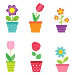 Vector set of flowers in pots