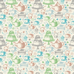 Seamless hand written pattern for tea time theme. With tea, cup,
