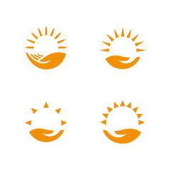 Weather logo set. Hand holding the sun