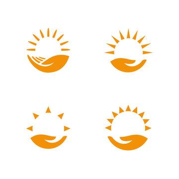 Weather logo set. Hand holding the sun
