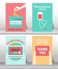 give and share your love to poor people. charity and donation poster set. flat design. can be use for background and invitation card. brochure layout template in A4 size. vector illustration