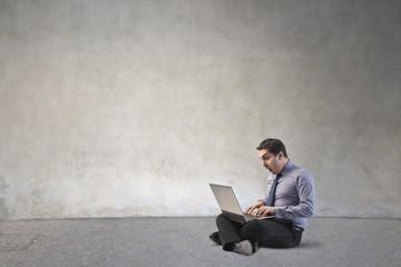 Employee using a laptop