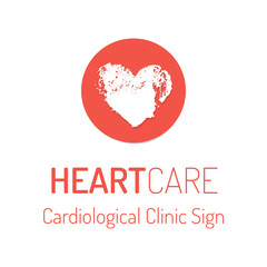 Cardiological clinic vector logo with the heart sign
