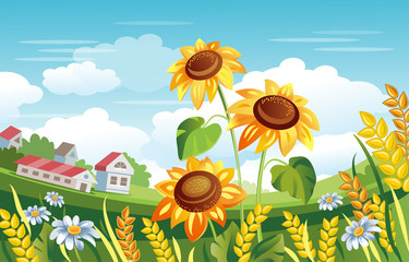 Rural landscape. Sunflowers, wheat ears, farm houses vector illustration. Summer green field.