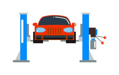 Car repair service diagnostics cartoon flat vector illustration.