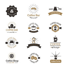 Set of coffee shop sign cafe symbol espresso design morning drink modern badge vector.