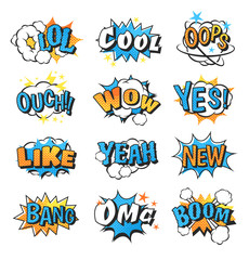 Collection of multi colored comic speech bubble boom effects vector.
