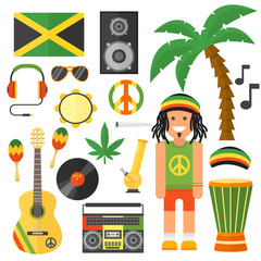 Reggae artist musical instrument and rastafarian elements collection vector illustration.