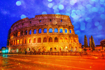 Colosseum, Rome, Italy. Twilight view of Colosseo in Rome with b