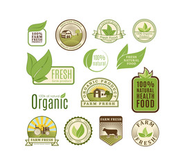 Eco badge organic food vector illustration.