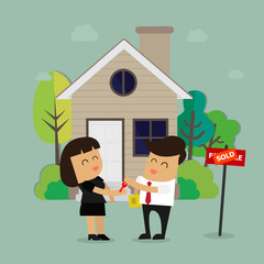 Estate agent handing over keys of new. Real Estate Concept. Vector illustration