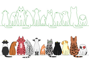 various posing cats in a row