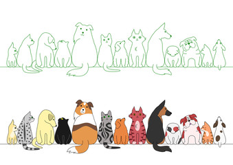various posing dogs and cats in a row