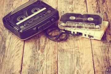 old cassette player, audio cassette