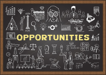Hand drawn business icons about Opportunities on chalkboard. Searching for new opportunities concept - Stock vector