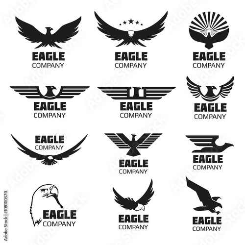 Heraldic Symbols With Eagle Silhouettes Vector Eagle Emblems Or