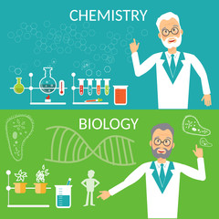 Education banners biology and chemistry