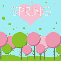Love the spring landscape vector illustration
