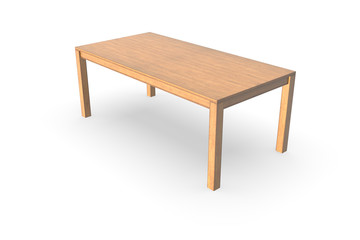3d rendering wooden table on white background.