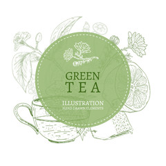 Green tea hand drawn elements