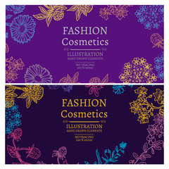 Fashion cosmetics flowers and herbs vintage template