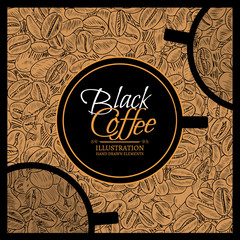 Black coffee stylish template for cafe roasted coffee beans