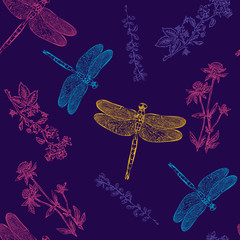 Dragonfly colorful seamless pattern dragonfly background