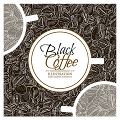 Black coffee concept roasted coffee beans hand drawn vintage