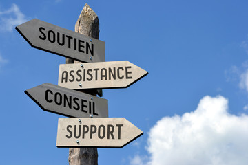 Soutien, assistance, conseil, support. Signpost in French.