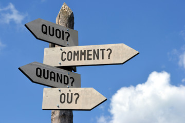 Quoi? Comment? Quand? Ou? Signpost in French